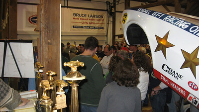 The barn was packed during the awards presentation, which honored Jack Redd, the Penn Bros., the Eastern Racing Museum, and Dave Bishop. Also covered during the presentation was the annual moment of silence for lost racers, a review of upcoming nostalgia events, an auction (with items donated by Mike Goyda and proceeds going to Doug Herbert's BRAKES organization on behalf of Dick Gerwer), and the awarding of DOZENS of cool door prizes.