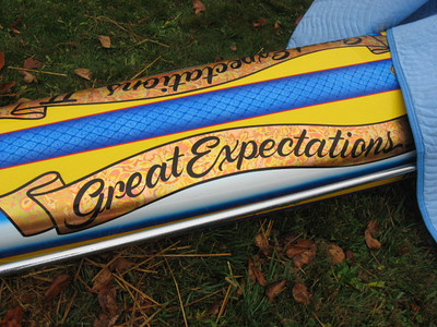 A morning drizzle kept the covers on the motor of Brian Beattie's awesome Great Expectations restoral.