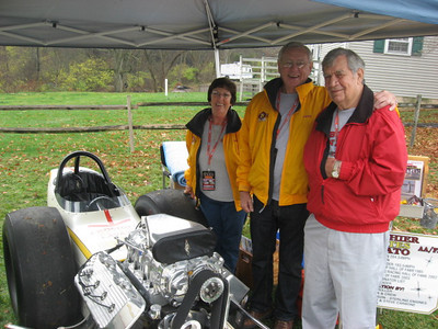 Pat and Jerry Baltes visit with funny car legend Tom Sneden.