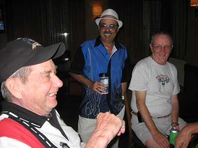 Jack Redd, Zappy, and Jack from the S&S Racing Team discuss tune up strategies at the Hyatt Place hotel at the VMP Best of Times Nostalgia Nationals on May 14, 2010.