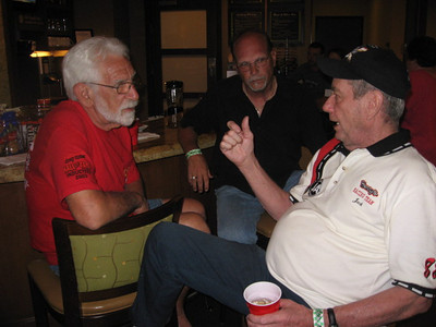 Fred Bear, Ron Horton, and Jack Redd solve the world's problems at the Hyatt.