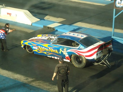 Burkart, Jr., ran a great 6.01, 242 in the Nitro Nick car to win the match over Jake Crimmins, who won the first round at 6.40, 216 when Burkart, Jr. shook the tires and shut off.