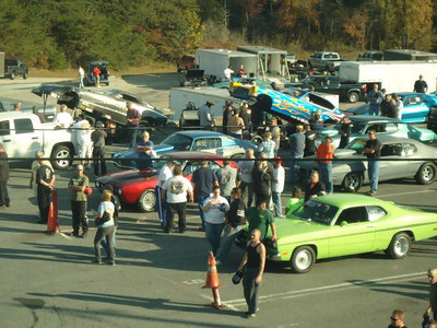 Nostalgia funny cars getting ready in the staging lanes at Capitol Raceway.
