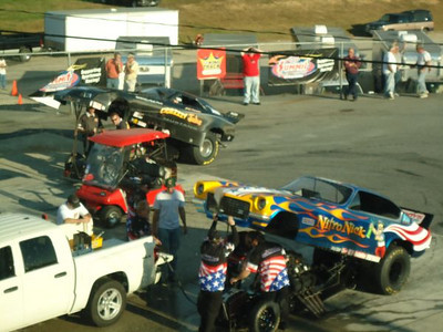 Jake Crimmins and Phil Burkart, Jr., getting their nostalgia funny ready in the staging lanes at Capitol Raceway.