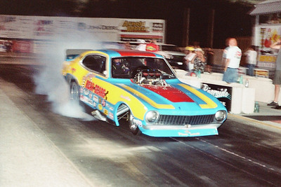 Randy Baker burns out in Danny Miller's Rear Gears Ford Maverick Nitro AA/Funny Car.
