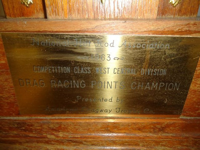 Chuck Hamann's NHRA Competition Eliminator Division 5 points championship trophy from 1963.