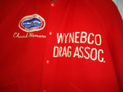 Chuck Hamann's WYNEBCO Drag Association jacket (Wyoming, Nebraska, Colorado). Organization predated NHRA West Central Division 5.