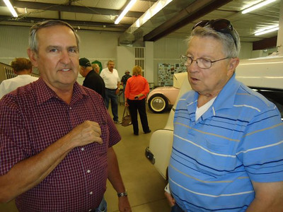 Julesburg Dragstrip veterans catching up. Don Fender on the right, but need the gentleman's name on the left.