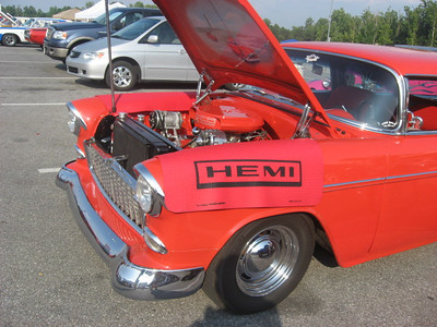 No kidding -- that's a hemi in that thar '55 Chevy.