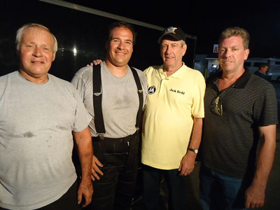 Two sets of two generations of hard core drag racing guys -- Dick and Terry Rosberg, and Jack and John Redd.