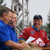 Dave Reiff, Mike Dunn, and Tim Wilkerson have a laugh on the NHRA raceday set