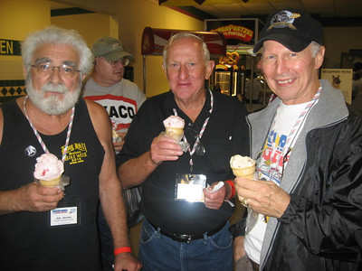 What do rough and rugged drag racers go out to get when they're not burning up the quarter mile? ICE CREAM! Joe Jacono, Bob Harrop, and Bruce Larson enjoy their cones...
