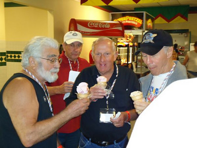 Ice cream time for Joe Jacono, Bob Harrop, and Bruce Larson as Jack Redd looks on.
