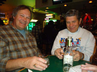 Dave Heisey and Bill Zinkham enjoy a well deserved cocktail after a hard day's work.
