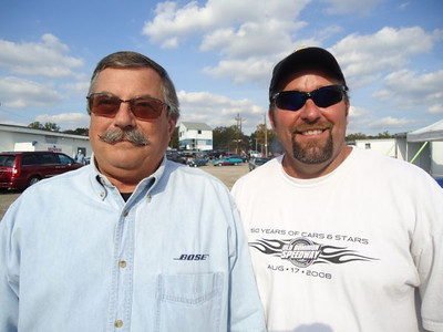 "Dave Outten and Jim Swagler were caught in the pits... Dave attends all nostalgia events and puts on the annual Legends at Budds Creek event. Jim spends his time hanging the front wheels high in his and his dad's 8-second ""Git-Go"" '55 Chevy!"