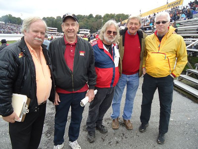 East Coast drag legends Steve Lesueur, Jack Redd, fuel drivers Tom Stephens and Ted Wolf, and visiting West Coast Ford road racer Matt Robison.
