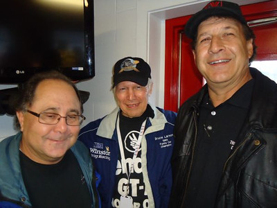 Three NHRA superstars in the timing tower: Larry Lombardo, Bruce Larson, and Joe Lepone.