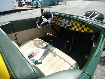 The checkerboard scheme was continued in the interior. Really different and nice.