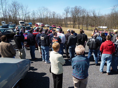 The crowd at the Eastern Museum of Motor Racing listens to the fire-up of Ed Kowalski's small block Chevy dragster at the 2013 EMMR Open House on April 6, 2013.