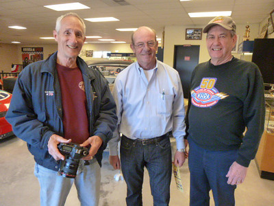 "Maryland sprint racing legend Rick Mandelson, TV and magazine great Dick Berggren, and Jack ""Approved"" Redd at the 2013 Eastern Museum of Motor Racing Open House on April 6, 2013."