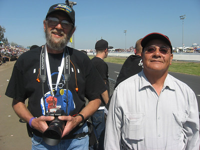 Here's photographer Pete Gemar and fellow drag racing fan Sergio Alday. Sergio is from Palmdale and was lamenting the passing of the late, great LA County Raceway. He enjoyed the proceedings at Bakersfield and it was great to talk with him.