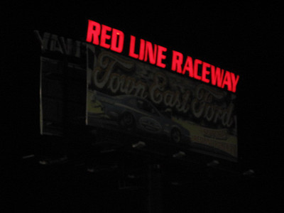 The Redline Raceway billboard was just as effective at night.
