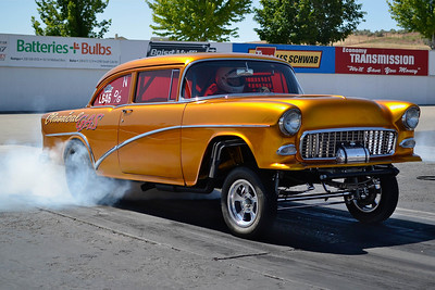 """Lonnie Gilbertson's """"Classical Gas"""" period perfect '55 Chevy gasser was featured in the February edition of Street Rodder Magazine. Also on display at the Portland Roadster Show."""