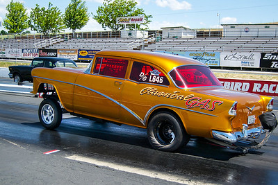 """Lonnie Gilbertson's """"Classical Gas"""" period perfect '55 Chevy Gasser, featured in the February issue of Street Rodder Magazine, also displayed in Portland Roadster Show."""