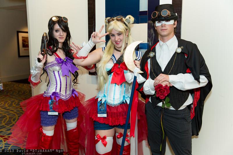 Sailor Mars, Sailor Moon, and Tuxedo mask