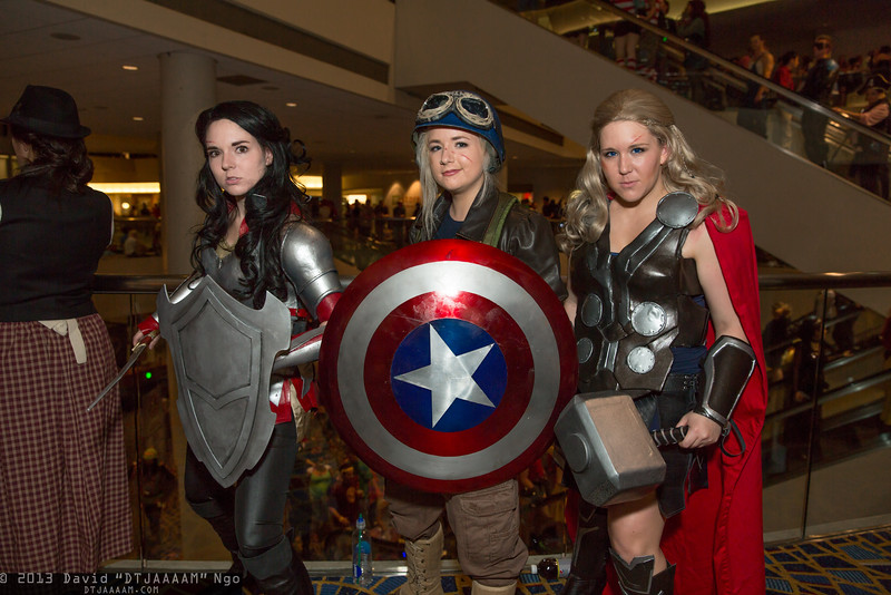 Sif, Captain America, and Thor