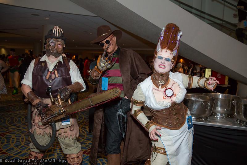 Leatherface, Freddy Krueger, and Bride of Frankenstein