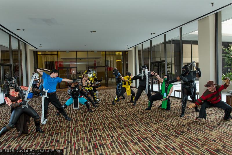 Kabal, Kurtis Stryker, Kung Lao, Sonya Blade, Cyraxes, Sub-Zero, Scorpion, Smoke, Reptile, Noob Saibot, and Freddy Krueger