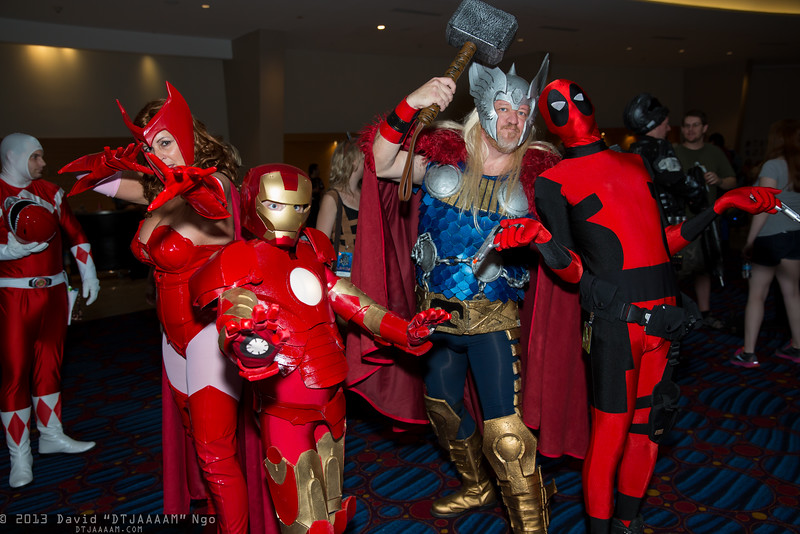Scarlet Witch, Iron Man, Thor, and Deadpool