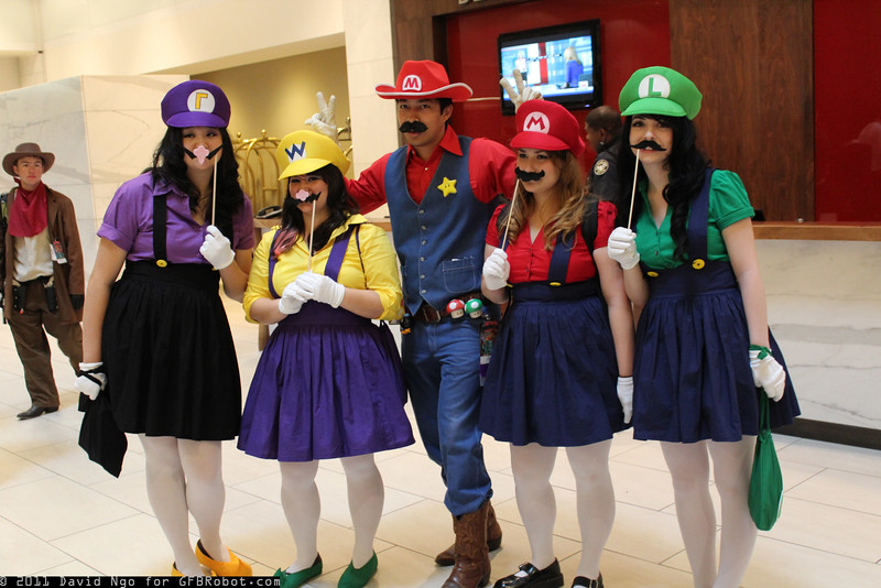 Waluigi, Wario, Marios, and Luigi