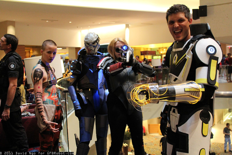 Jack, Garrus Vakarian, and Commander Shepards