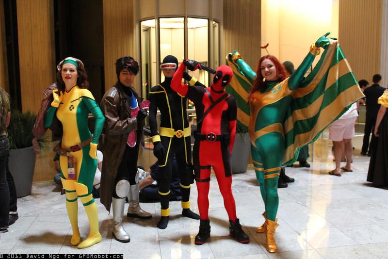 Rogue, Gambit, Cyclops, Deadpool, and Siryn