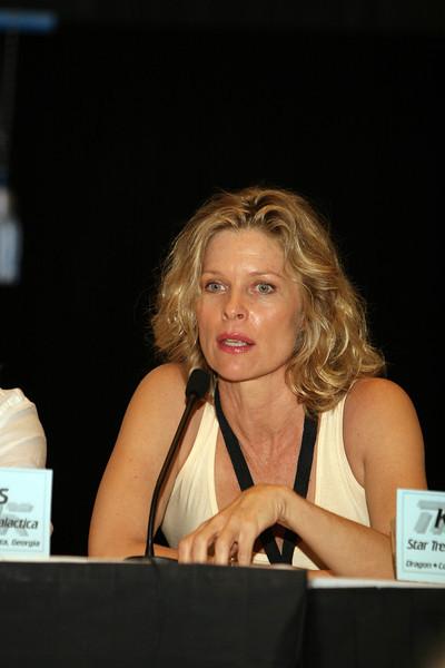 Kate Vernon plays Ellen Tigh on Battlestar Galactica