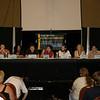 John C. Snider, Joe Crowe, Deborah Warner, Aaron Douglas, Richard Hatch, James Callis,  Kate Vernon,  and Dr. Kevin R. Grazier on a panel named  Star Trek vs. the New Battlestar Galactica