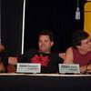 Deborah Warner, Aaron Douglas, and Richard Hatch on a panel named  Star Trek vs. the New Battlestar Galactica
