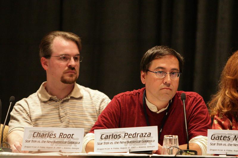 Charles Root and Carlos Pedraza at the Star Trek vs. Battlestar Galactica Panel during DragonCon 2007