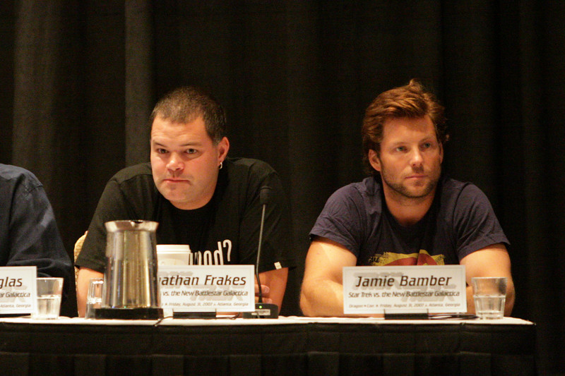 Aaron Douglas and Jamie Bamber at the Star Trek vs. Battlestar Galactica Panel during DragonCon 2007