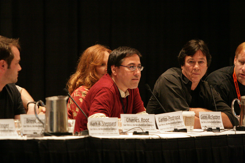 Carlos Pedraza, staff writer and one of the producers of Star Trek: Hidden Frontier at the Star Trek vs. Battlestar Galactica Panel during DragonCon 2007