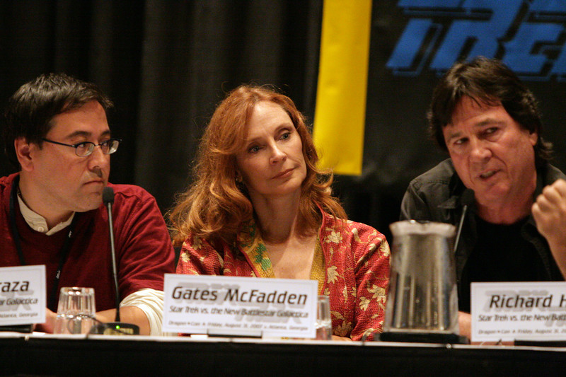 Gates McFadden, Dr. Beverly Crusher in the television and film series Star Trek: The Next Generation at the Star Trek vs. Battlestar Galactica Panel during DragonCon 2007