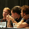 Dr. Kevin R. Grazier, Aaron Douglas, and Jamie Bamber at the Star Trek vs. Battlestar Galactica Panel during DragonCon 2007