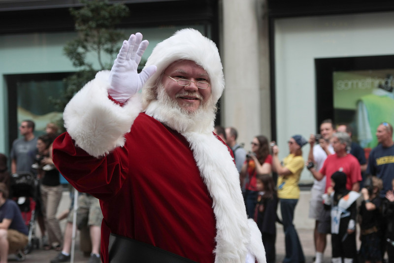 Santa Clause participant in the 2008 DragonCon Parade down Peachtree Street.