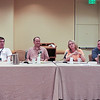 John D. Ringo, Mitchell Graham, Gary Kim Hayes(M), Gail Z. Martin, J Robinson at the FightinÕ and WritinÕ panel.
