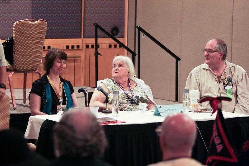 "Jody Lynn Nye, Anne McCaffrey, and Todd McCaffrey at the ""Bob AsprinÕs Last Bad Joke"" panel."