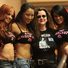 Christy Hemme, Gail Kim, Laurell K. Hamilton, and Traci Brooks posing for fans.