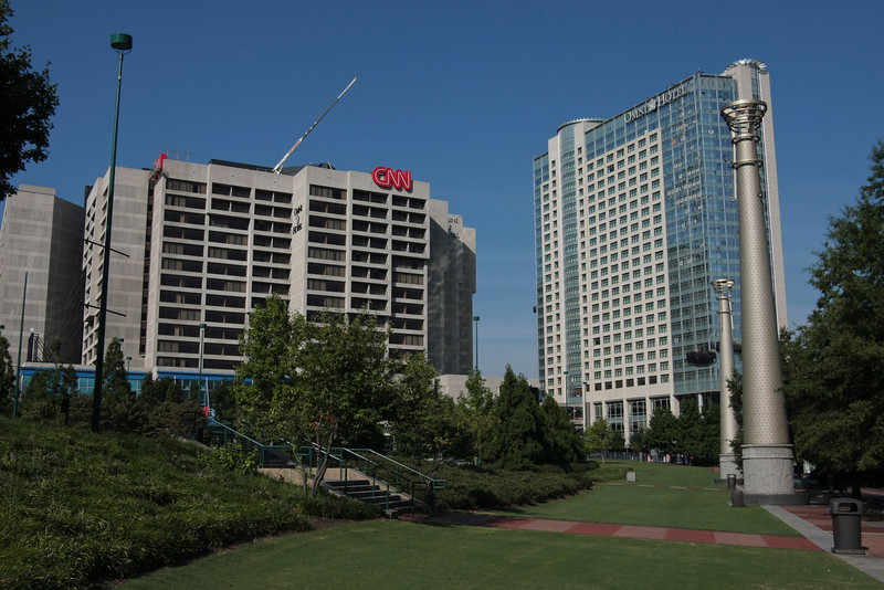 CNN center and the Omni Hotel from Centennial Olympic Park