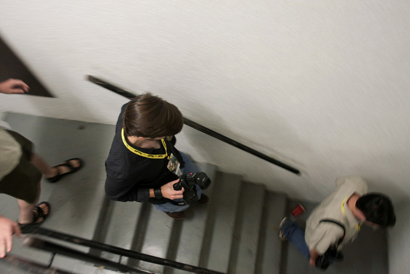 Russ heading down the stairs